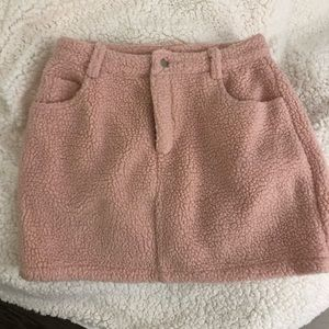 Pink sherpa mini skirt